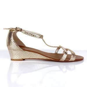 Dune London Gold Gain Leather Wedge Sandals